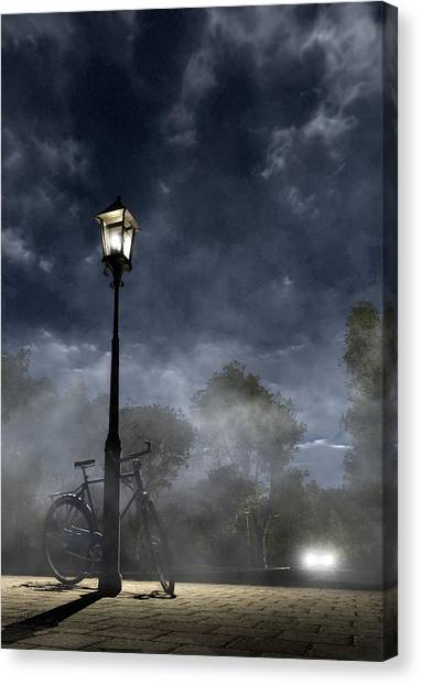 Night Lights Canvas Print - Ominous Avenue by Cynthia Decker