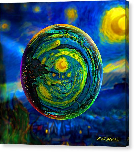 Outer Space Canvas Print - Orbiting A Starry Night  by Robin Moline