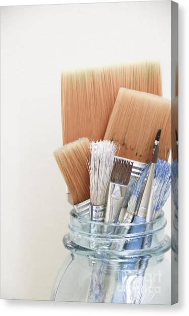 Paint Brushes In Jar Canvas Print