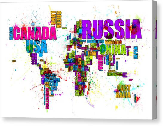 Splash paint canvas prints page 2 of 151 fine art america splash paint canvas print paint splashes text map of the world by michael tompsett gumiabroncs Choice Image