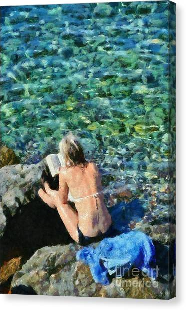 Painting Of Woman In Hydra Island Canvas Print