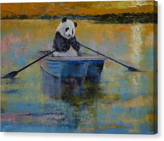 Panda Canvas Print - Panda Reflections by Michael Creese