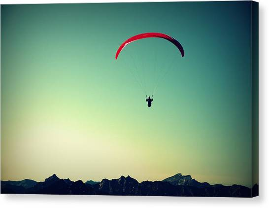 Sky Canvas Print - Paraglider by Chevy Fleet