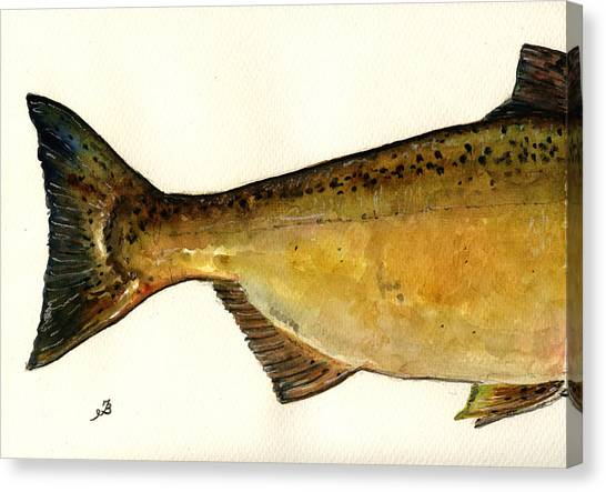 Salmon Canvas Print - 2 Part Chinook King Salmon by Juan  Bosco