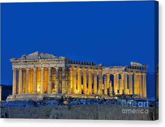 Parthenon In Acropolis Of Athens During Dusk Time Canvas Print