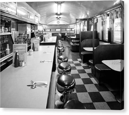 Ketchup Canvas Print - Pawtucket Diner by Mountain Dreams