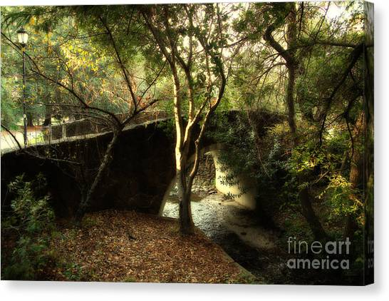 Uc Berkeley Canvas Print - Pedestrian Bridge And Strawberry Creek  . 7d10152 by Wingsdomain Art and Photography
