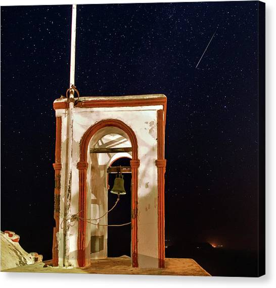 Church Bells Canvas Print - Perseid Meteor Track Over Santorini by Babak Tafreshi