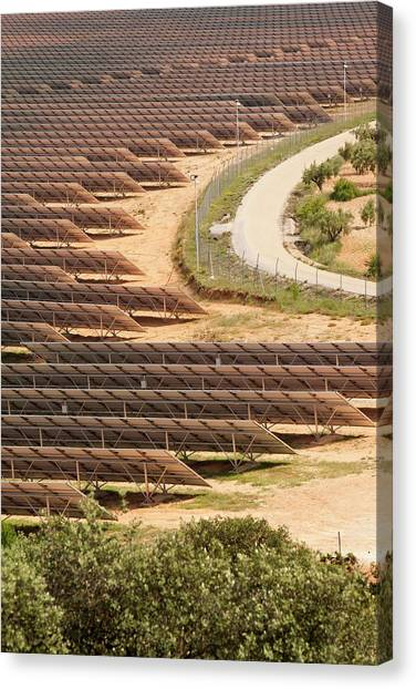 Clean Energy Canvas Print - Photovoltaic Panels At Beneixama by Ashley Cooper