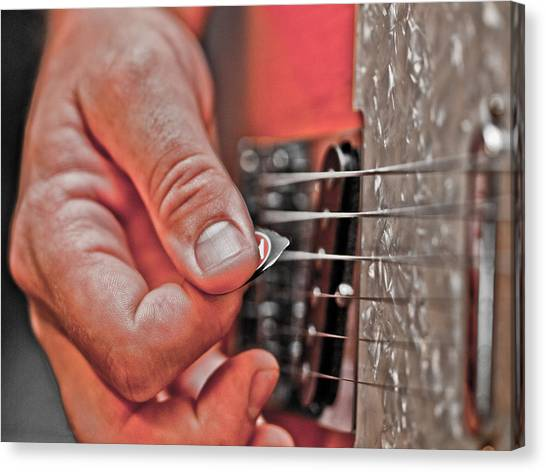 Guitar Picks Canvas Print - Grunge by Annette Hugen