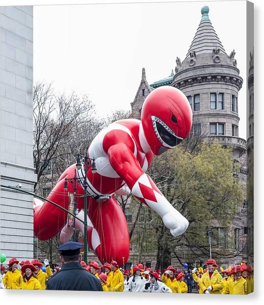 Macys Parade Canvas Print - Pillsbury Doughboy Balloon At Macy's Thanksgiving Day Parade by David Oppenheimer