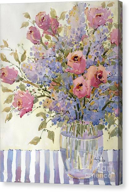 Pink Roses And Lilacs Canvas Print