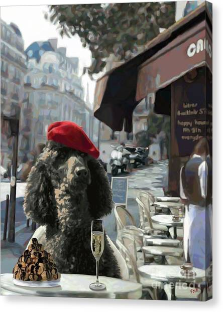 Poodle In Paris Canvas Print