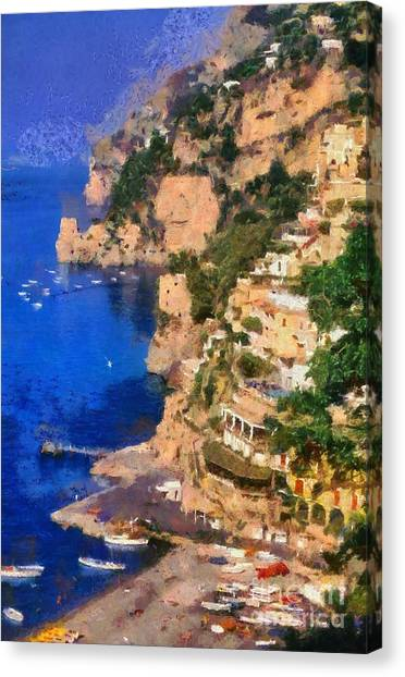 Positano Town In Italy Canvas Print