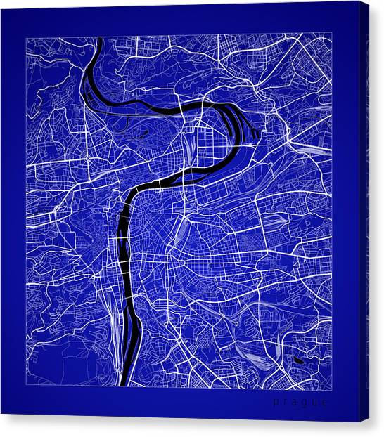 Prague Canvas Print - Prague Street Map - Prague Czech Republic Road Map Art On Color by Jurq Studio