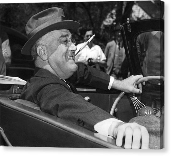 Democratic Canvas Print - President Franklin Roosevelt by Underwood Archives