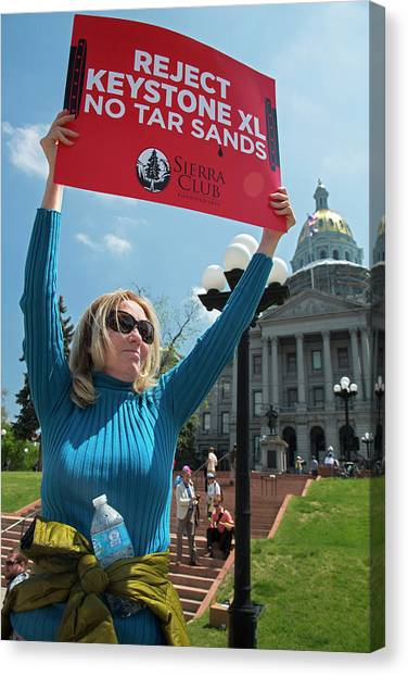 Political Science Canvas Print - Protest Against Keystone Xl Pipeline by Jim West