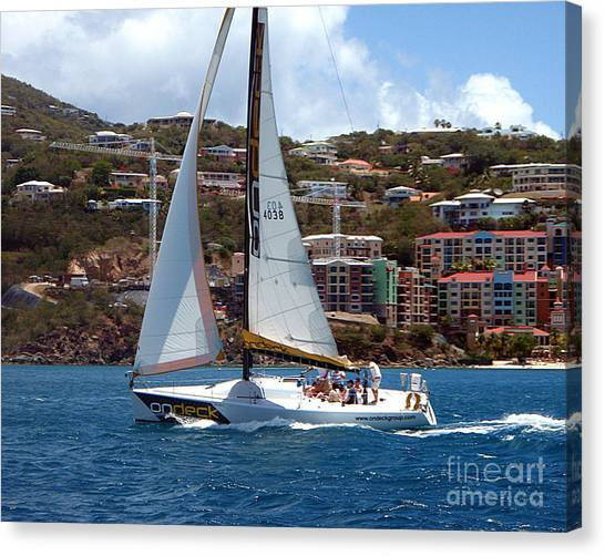 Racing At St. Thomas 1 Canvas Print