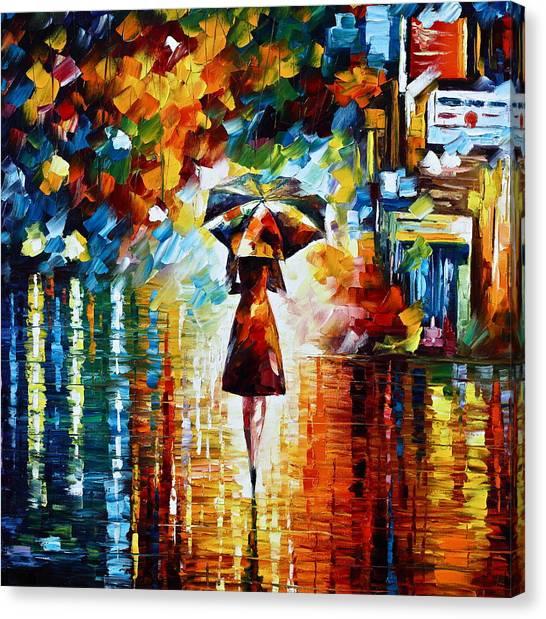 Palette Canvas Print - Rain Princess - Palette Knife Landscape Oil Painting On Canvas By Leonid Afremov by Leonid Afremov
