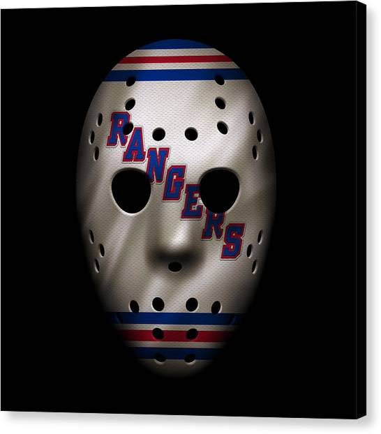 New York Rangers Canvas Print - Rangers Jersey Mask by Joe Hamilton