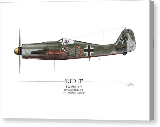 Luftwaffe Canvas Print - Red 13 Focke-wulf Fw 190d - White Background by Craig Tinder