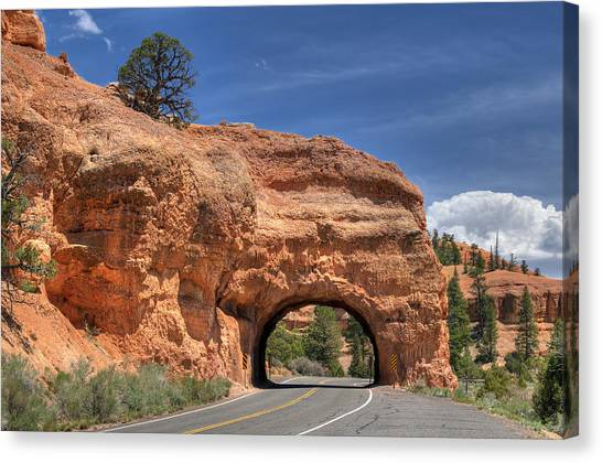 Red Canyon National Park Utah Road Tunnel  Canvas Print