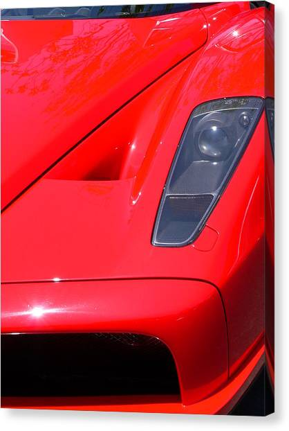 Canvas Print featuring the photograph Red Ferrari by Jeff Lowe