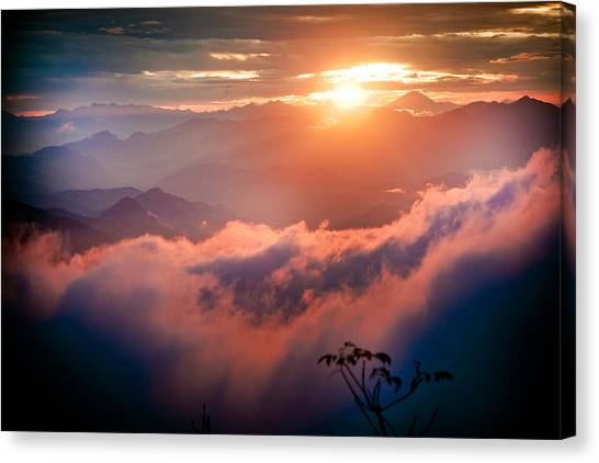 Red Sunset Himalayas Mountain Nepal Canvas Print