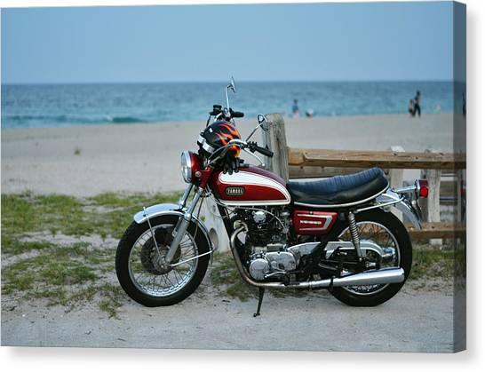 Yamaha Canvas Print - Retro Beach Ride by Laura Fasulo