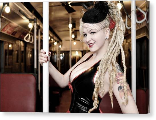 Ride The Pinup Express Canvas Print
