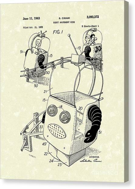 Automaton Canvas Print - Robot Ride 1963 Patent Art by Prior Art Design