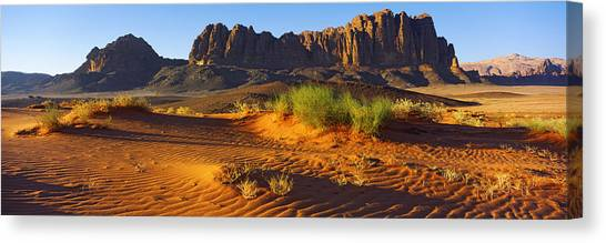 Jordan Canvas Print - Rock Formations In A Desert, Jebel by Panoramic Images