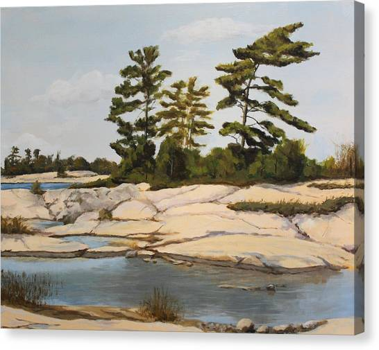 Rock Ponds. Lost Bay. Beausoleil Canvas Print by Humphrey Carter