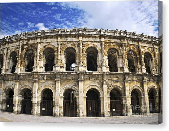 The Amphitheatre Canvas Print - Roman Arena In Nimes France by Elena Elisseeva