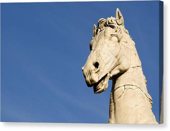 Close Up Horses Canvas Print - Roman Statue by Fabrizio Troiani