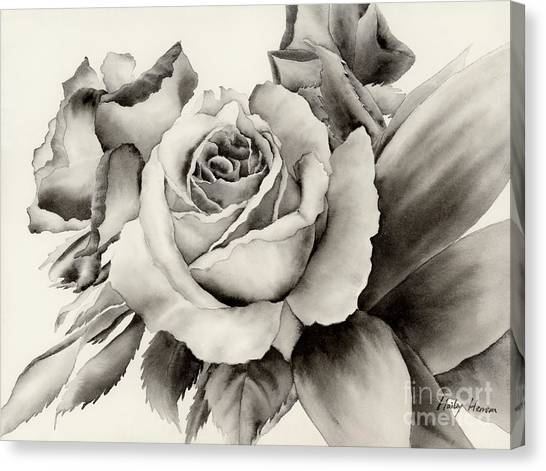 Ink Canvas Print - Rose Bouquet by Hailey E Herrera