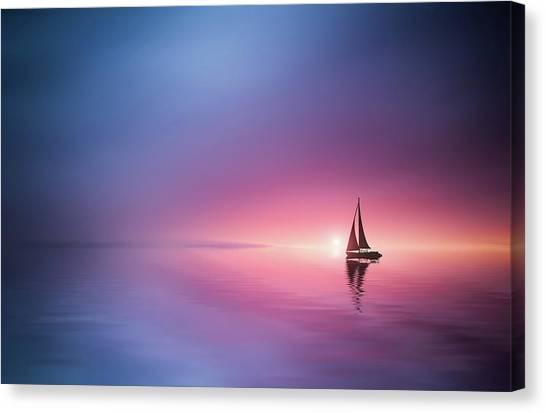 Sail Boats Canvas Print - Sailing Across The Lake Toward The Sunset by Bess Hamiti