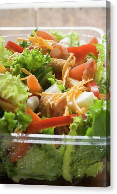 Eggs And Bacon Canvas Print - Salad Leaves With Vegetables, Egg, Cheese And Bacon To Take Away by Foodcollection