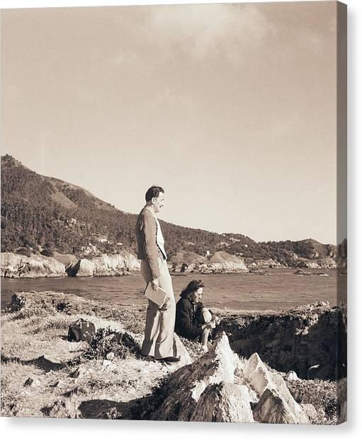 Salvador Dali Canvas Print - Salvador And Gala Dali On Rocks by Horst P. Horst