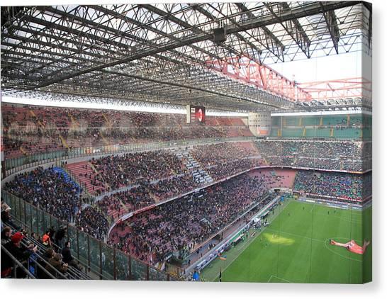 Ac Milan Canvas Print - San Siro Stadium by Valentino Visentini