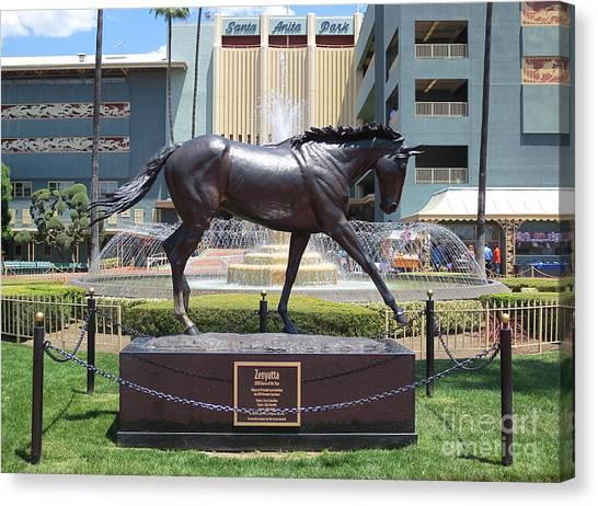 Santa Anita Race Track Statue Of Zenyatta Canvas Print