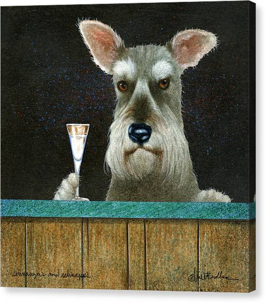 Schnauzers Canvas Print - Schnauzers And Schnapps... by Will Bullas