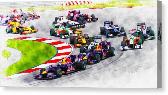 Sebastian Vettel Leads The Pack Canvas Print