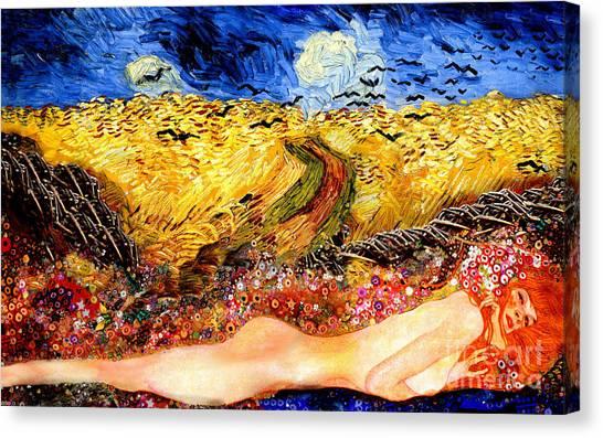 Serpent In Wheatfield Canvas Print