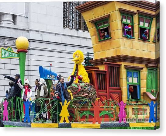 Macys Parade Canvas Print - Sesame Street Float At Macy's Thanksgiving Day Parade by David Oppenheimer