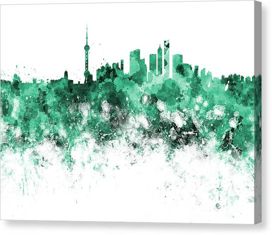 Shanghai Skyline Canvas Print - Shanghai Skyline In Watercolor On White Background by Pablo Romero