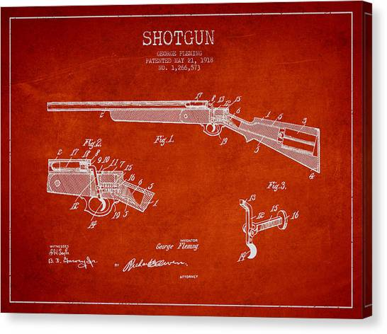 Shotguns Canvas Print - Shotgun Patent Drawing From 1918 by Aged Pixel