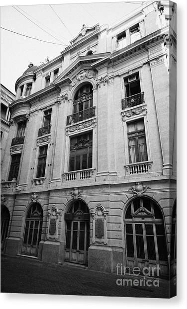 side of Santiago Stock Exchange building Chile Canvas Print by Joe Fox