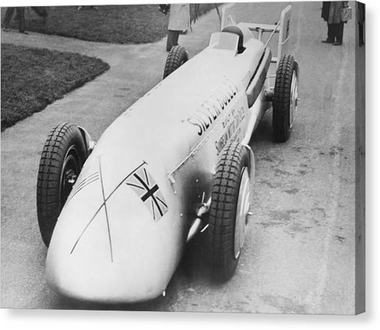 Racecar Drivers Canvas Print - Silver Bullet Race Car by Underwood Archives