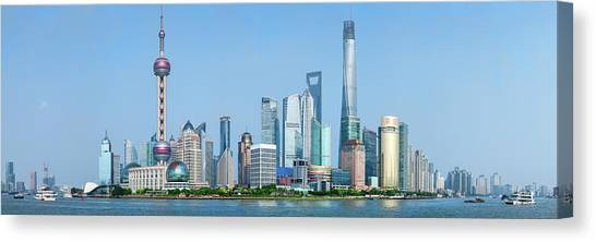 Tv Tower Canvas Print - Skylines At The Waterfront, Oriental by Panoramic Images